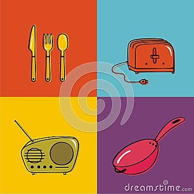 Objetos del hogar utensilios tostadora sart n foto de for Utensilios del hogar