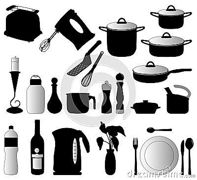 Objets de cuisine vecteur de silhouette photographie stock image 12410792 - Objet cuisine ...