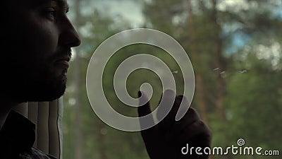 Obsługuje przyglądającego za okno z podbródkiem na ręce w pociągu, poważny wyrażenie zdjęcie wideo
