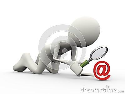 Observation de signe d email de la personne 3d