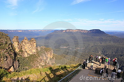 Observation deck with tourists at Three Sisters Editorial Image