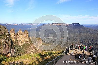 Viewing platform at Three Sisters, Blue Mountains Editorial Image