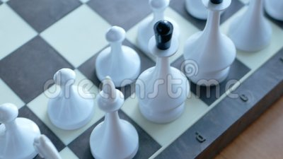 Observing inspecting troops before battle, a rows of white figures on chess board. Panoramic 4k video footage stock video footage