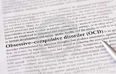 Obsessive compulsive disorder or OCD. education or healthcare concept / selective focus.