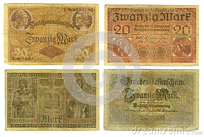 Obsolete German banknotes cut out
