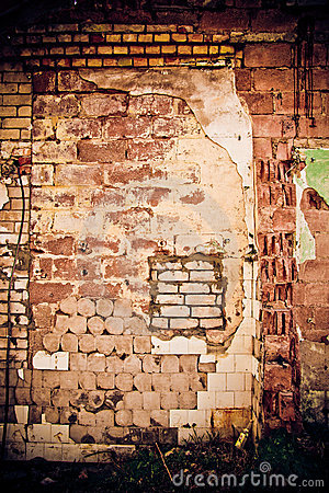 Obsolete Wall Of Different  Material Royalty Free Stock Photography - Image: 14392827