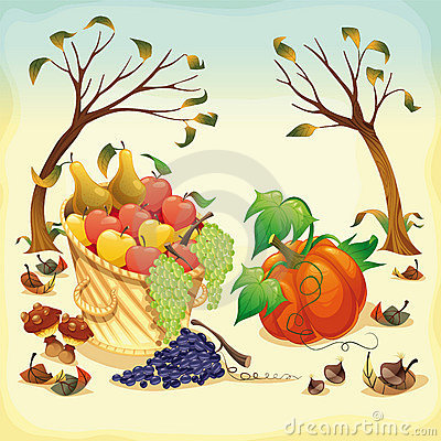Obst und Gemüse im Herbst.