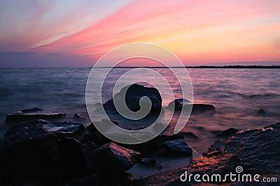 Océano de la puesta del sol