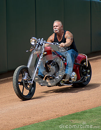 OCC Paul Senior on military motorcycle Editorial Stock Photo
