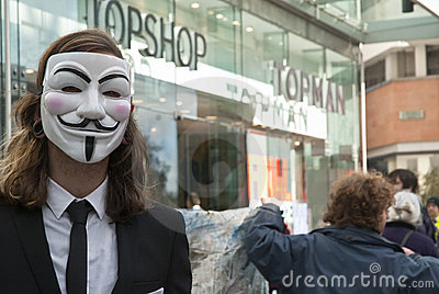 Occupy Exeter activist wearing Guy Fawkes mask Editorial Photography