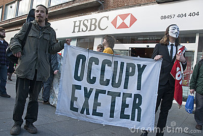Occupy Exeter activists campaign outside Exeter Editorial Photography