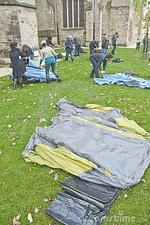 Occupy Exeter participants erect their tents Editorial Photography