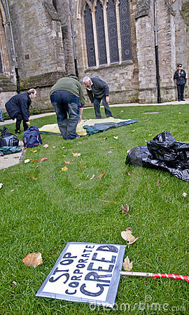 Occupy Exeter participants erect their tents Editorial Photo