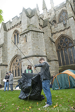 Occupy Exeter supporters  erect their tents Editorial Photography