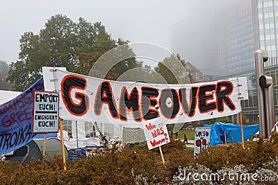 Occupy Frankfurt Protests Editorial Stock Photo