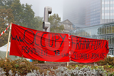 Occupy Frankfurt Protests Editorial Photo