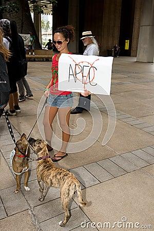 Occupy Honolulu/anti-APEC Protest-10 Editorial Photo