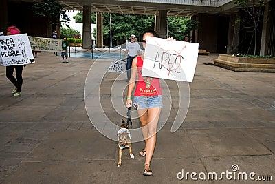 Occupy Honolulu/anti-APEC Protest-14 Editorial Photography