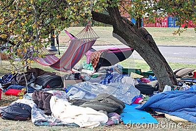 Occupy Kansas City Camp Editorial Stock Photo