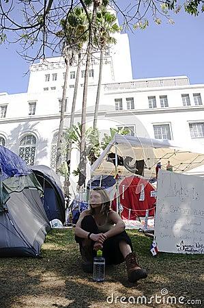 Occupy LA camping tent village Editorial Stock Photo