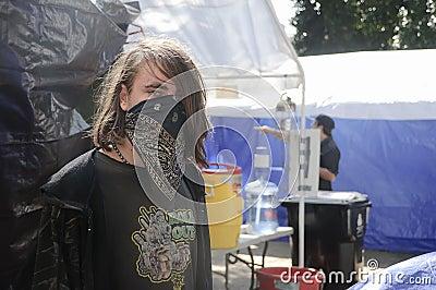 Occupy LA camping tent village Editorial Photo