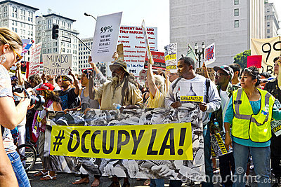 Occupy LA Demonstration and Rally Editorial Photography