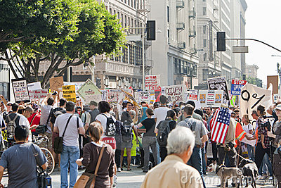 Occupy LA Demonstrators March in Los Angeles Editorial Stock Photo