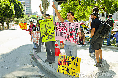 Occupy LA Protesters In Downtown Los Angeles Editorial Photography