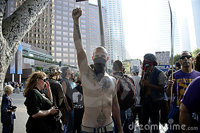 Occupy LA protesters march Editorial Stock Photo