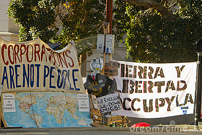 Occupy LA Signs and Banners At Encampment Editorial Stock Image