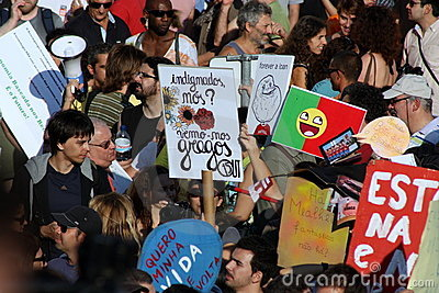 Occupy Lisbon - Global Mass Protests 15 October Editorial Photography