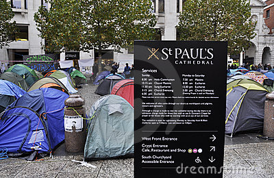 Occupy London encampment at St Paul s Cathedral Editorial Stock Image