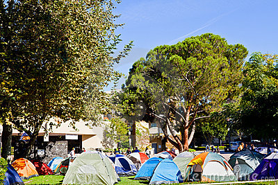 Occupy UCLA Demonstrator s Encampment On Campus Editorial Photography