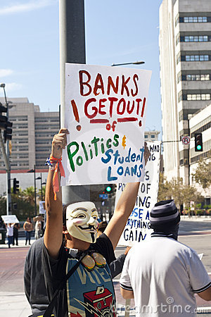 Occupy Wall Street LA Protest in Los Angeles Editorial Photo