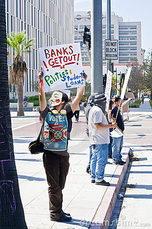 Occupy Wall Street LA Protest in Los Angeles Editorial Photography