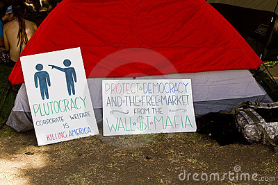 Occupy Wall Street LA Protest in Los Angeles Editorial Stock Photo