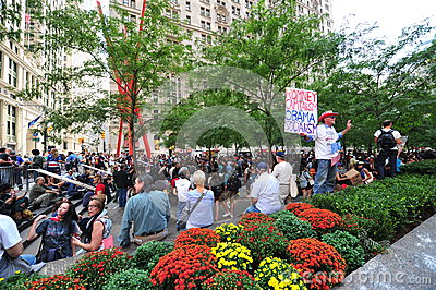Occupy Wall Street Protest in Zuccotti Park Editorial Photo