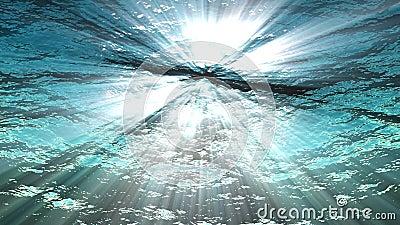 Oceaangolven van onderwater het van een lus voorzien animatie hoog - kwaliteits Lichte stralen die door glanzen Grote populaire m stock footage