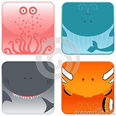 Free Ocean Animals Icon Set Royalty Free Stock Photos - 8533418