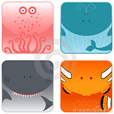 Ocean animals icon set