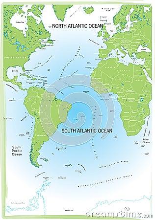 Ocean Atlantic map.