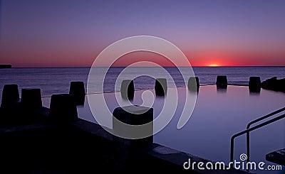 Dawn Ocean Sunrise Swimming Pool Bath Silhoutte