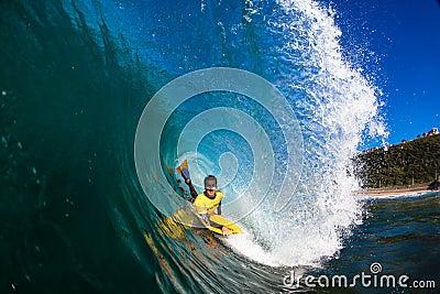 Ocean Body Boarding Hollow Wave Editorial Stock Photo