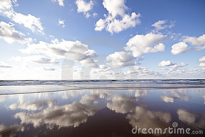 Ocean and clouds reflecting