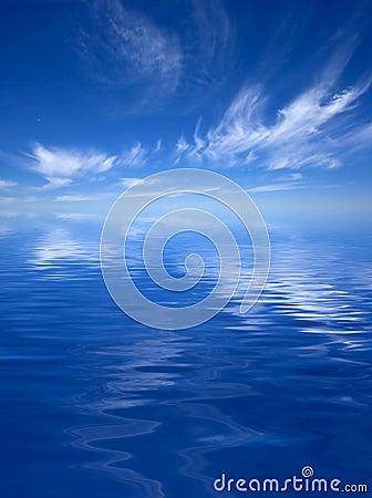 Ocean with a Cloudy Sky