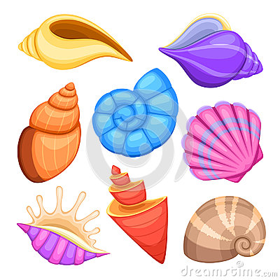 Free Ocean Cockleshells. Cartoon Sea Shells Vector Collection Stock Images - 95823254