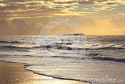 Golden morning over seascape by dawn