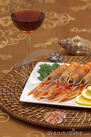 Ocean delicacy shrimp on dinner