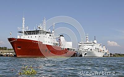 Ocean going liners moored at Kochin Kerala India