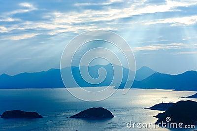 Ocean islands sunrise Landscape